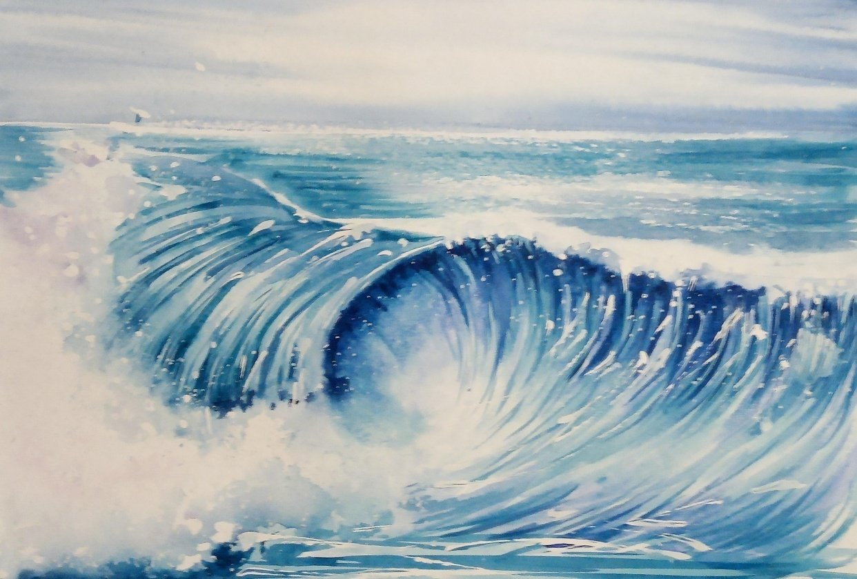 Watercolor Ocean Waves - student project