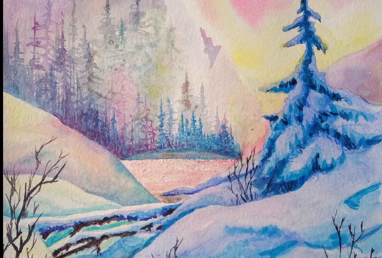 Painting A Winter Mountain Sunset In Watercolor - student project