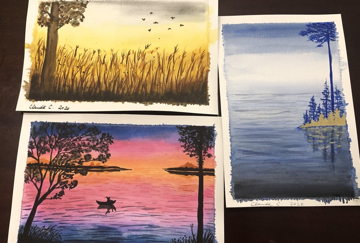 Three watercolor landscapes - student project