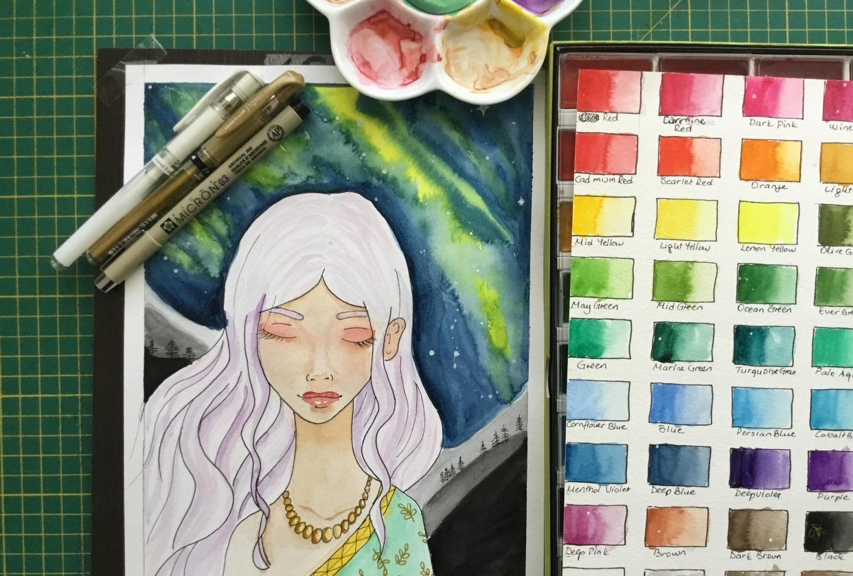 Watercolor Galaxy Painting 2-Manga portrait with nothern light - student project
