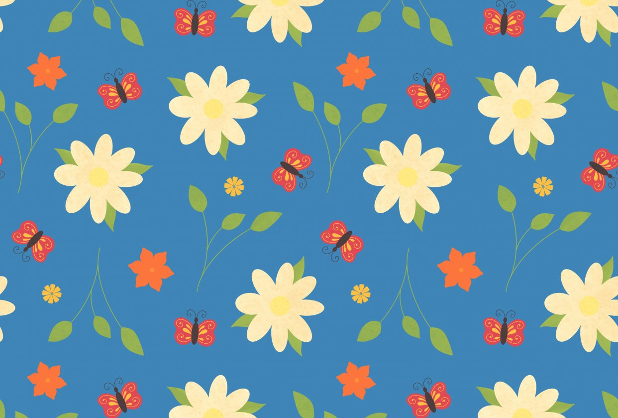 Flora and Fauna pattern - student project