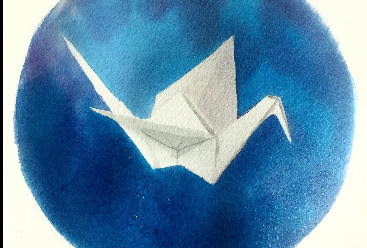 Origami Crane in Watercolor - student project