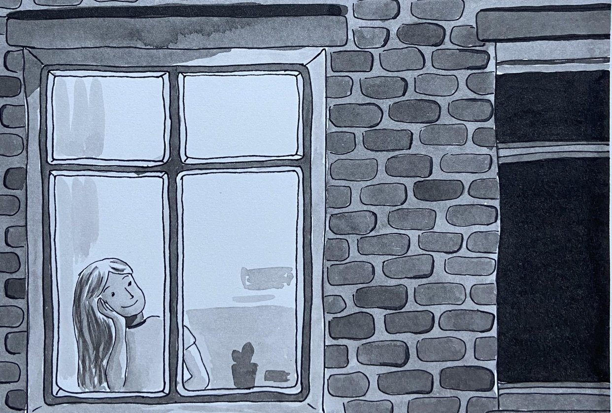 Window (ink and watercolour) - student project