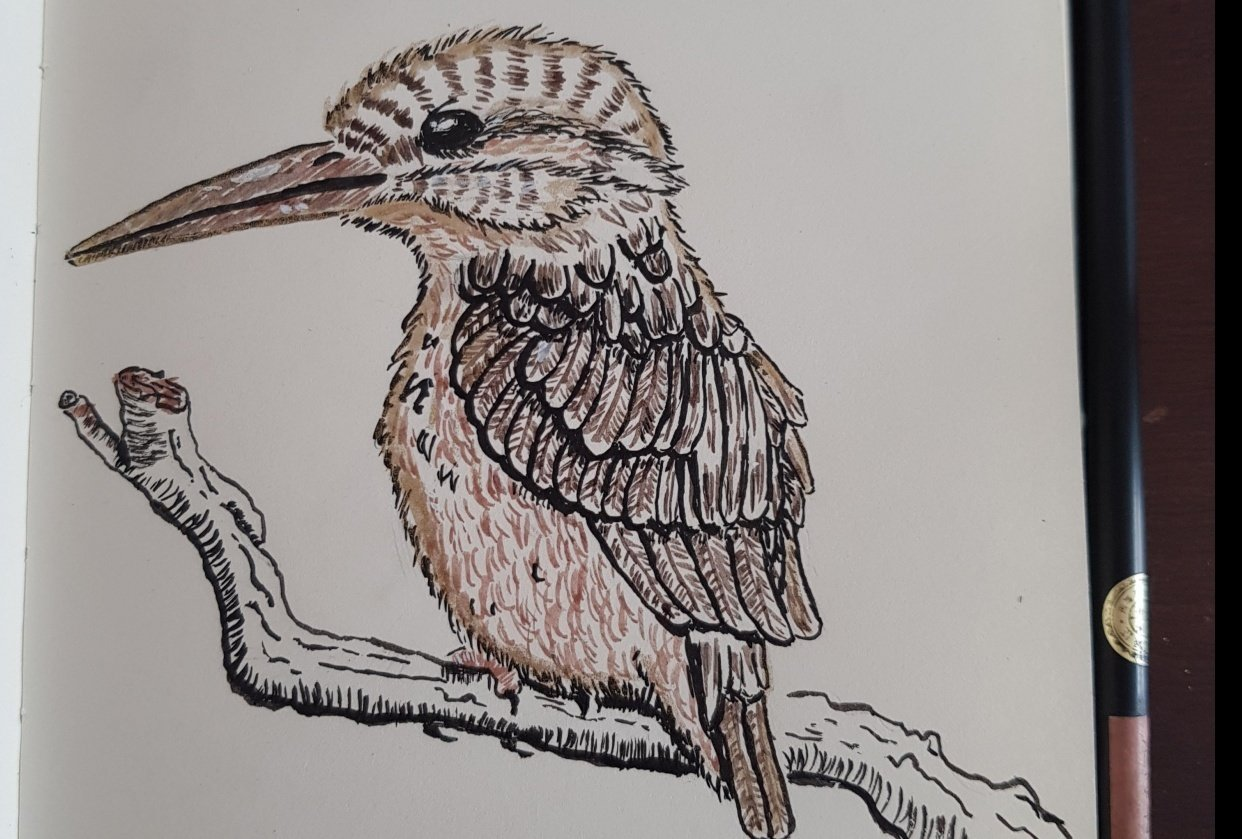 Golden Kingfisher using calligraphy brush - student project