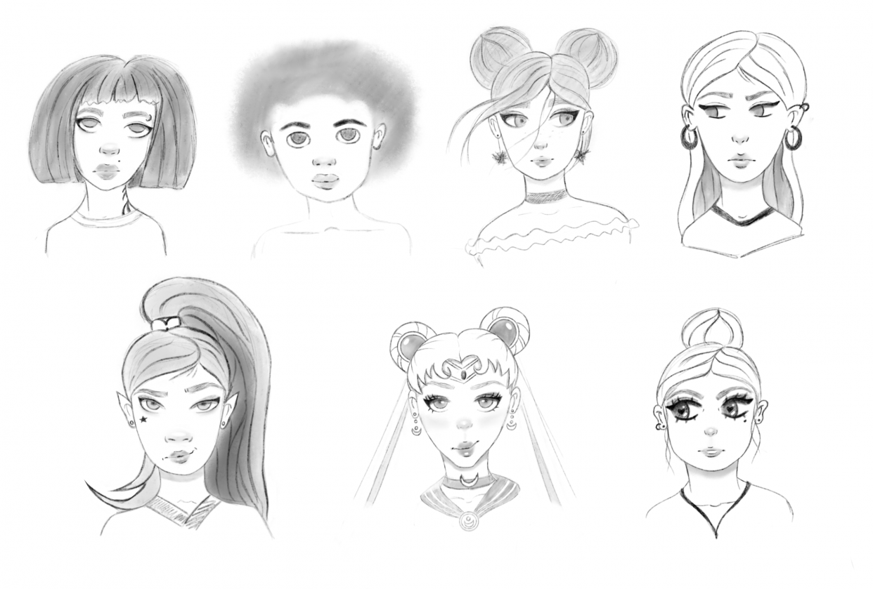 Female (and one guy) characters - student project
