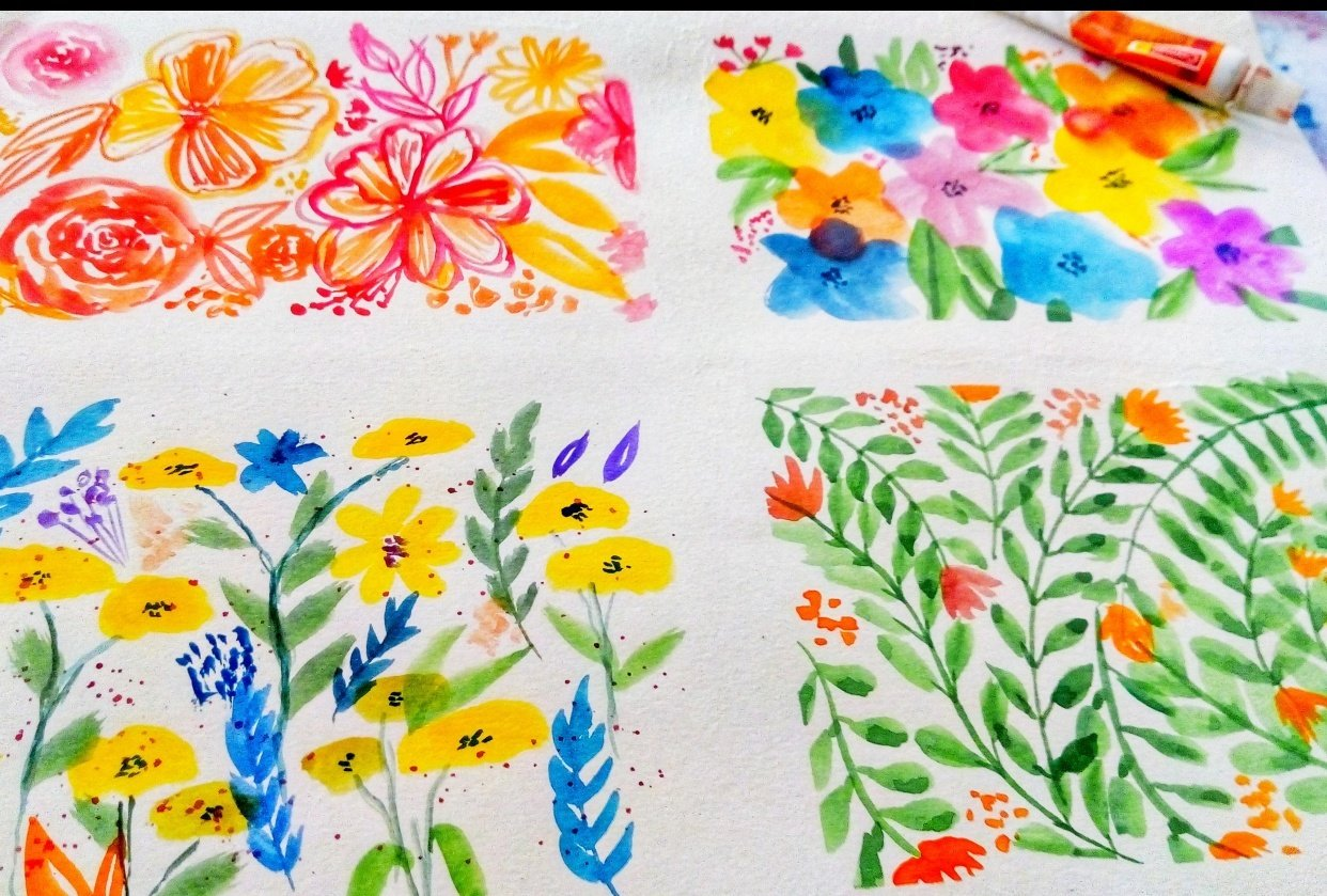 Watercolor Floral Patterns! - student project