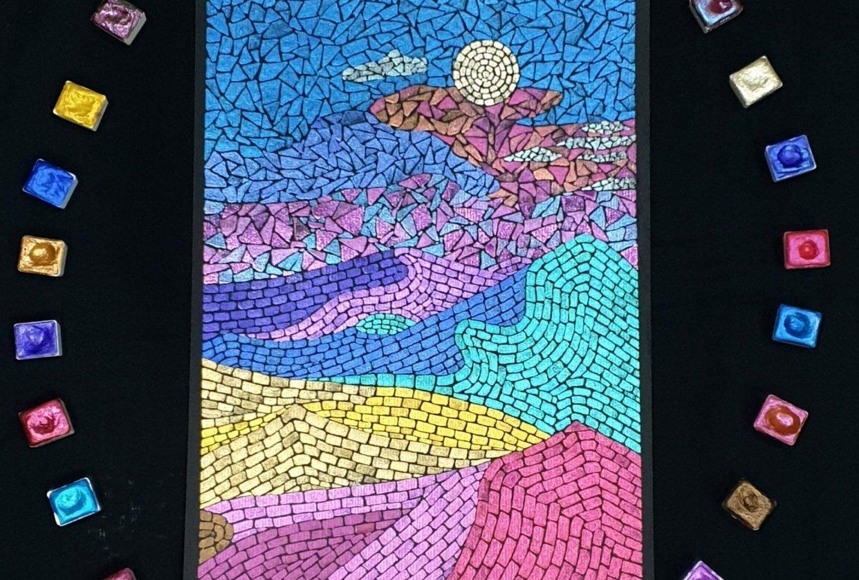 Watercolor Mosaic Landscape - student project