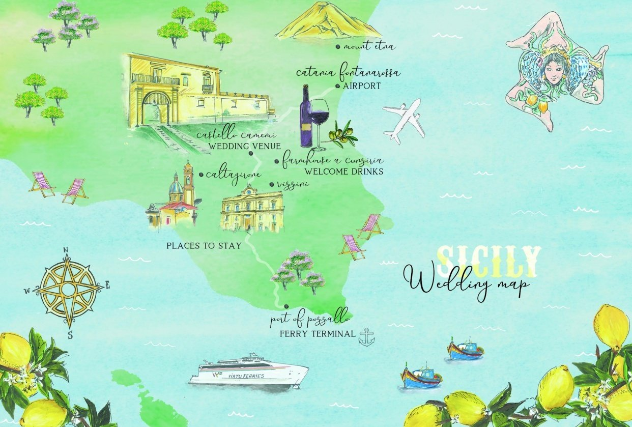 Sicilian Wedding Map - student project