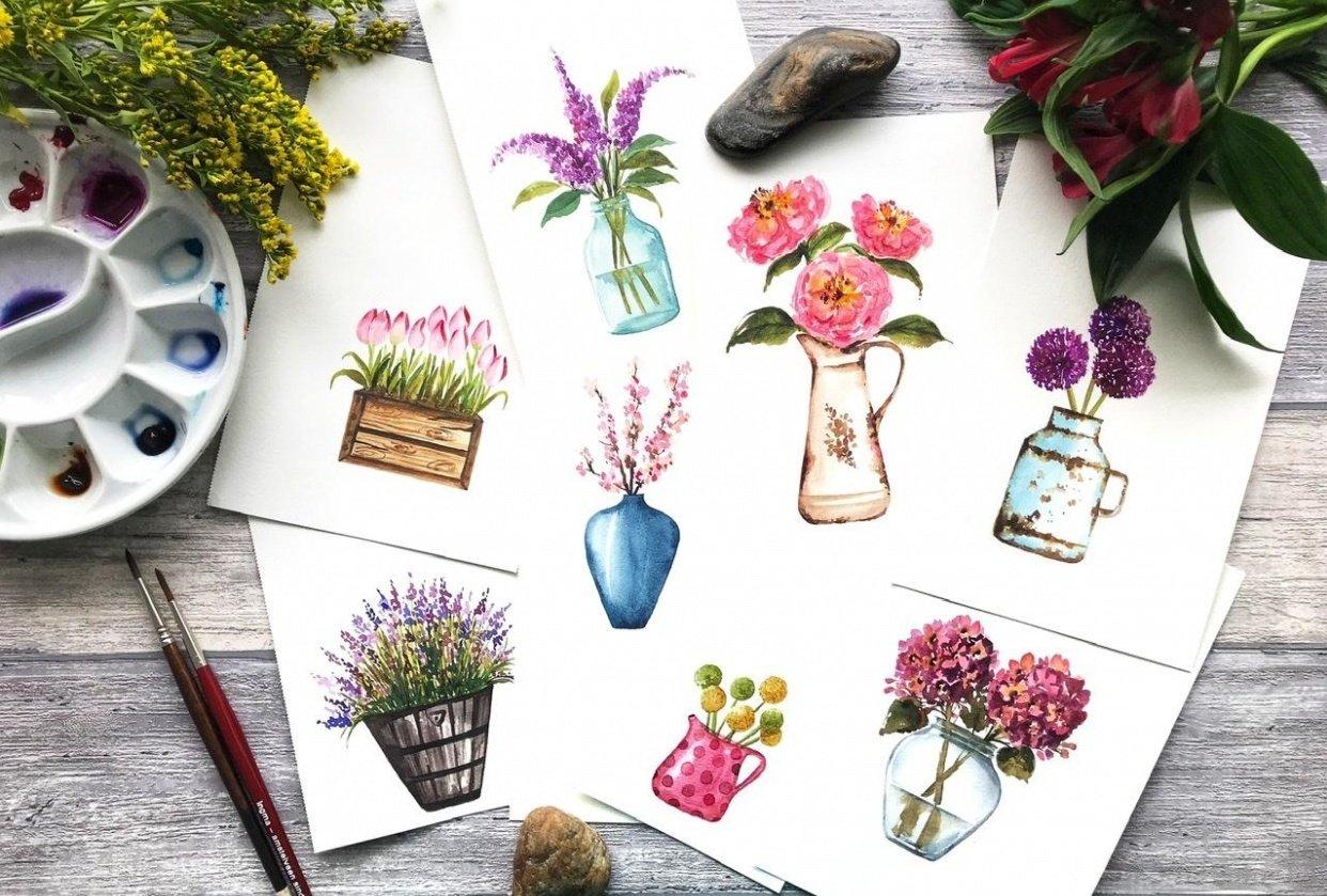 Watercolors Beyond Loose Florals: 8 Unique Flowers & Pots Projects - student project