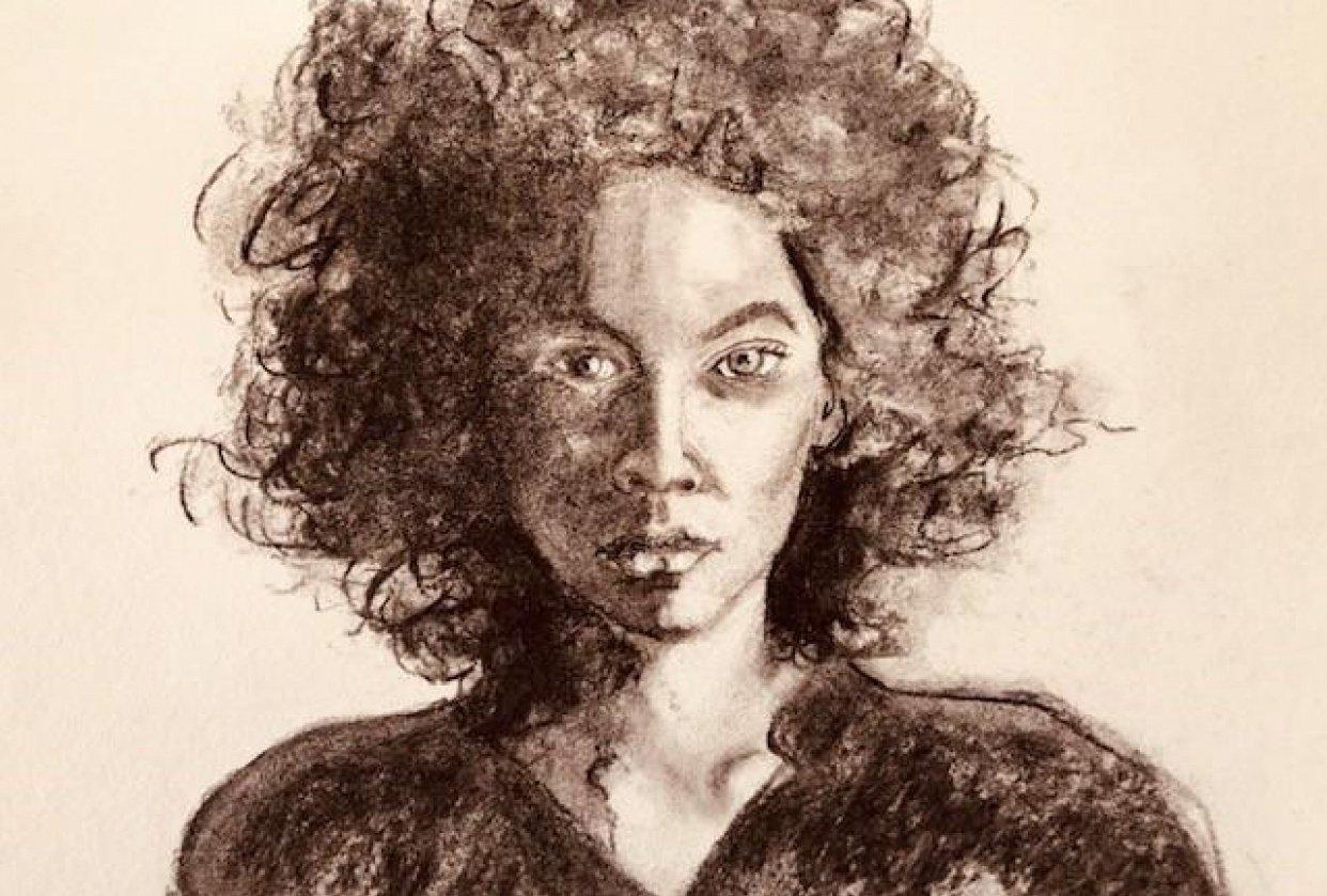 Split light portrait charcoal - student project