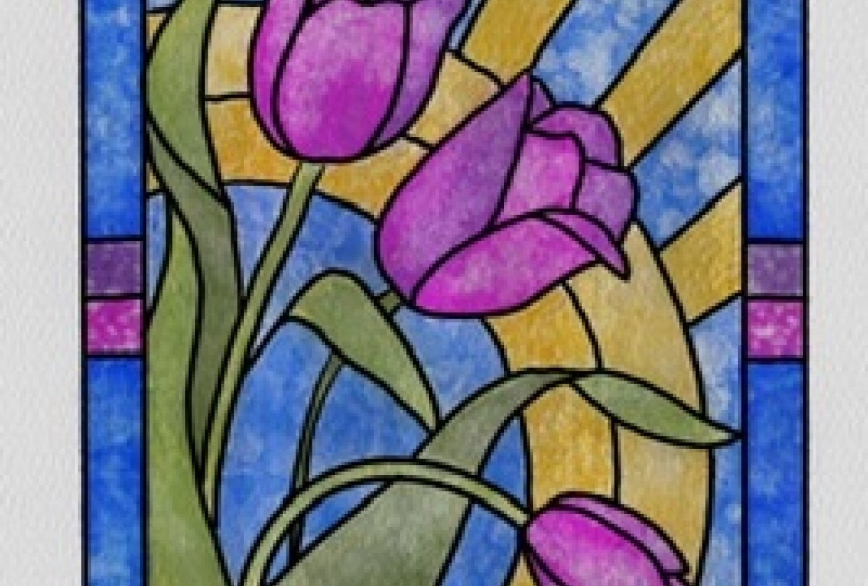 Watercolor Stained Glass - student project