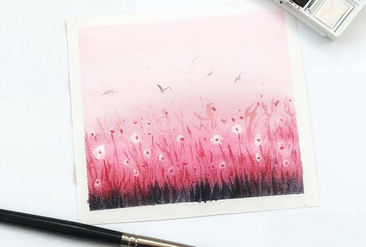 Watercolor meadow - student project