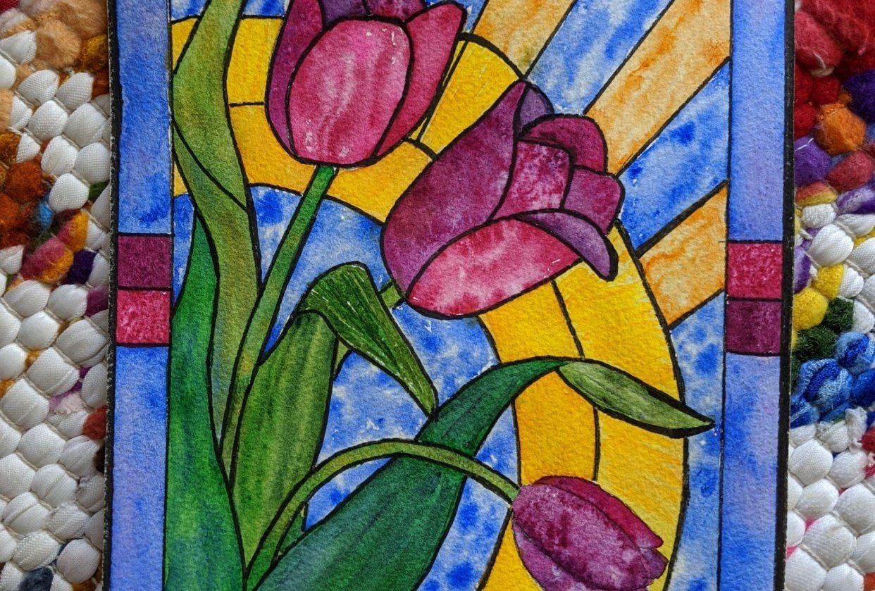 Stained glass tulip - student project