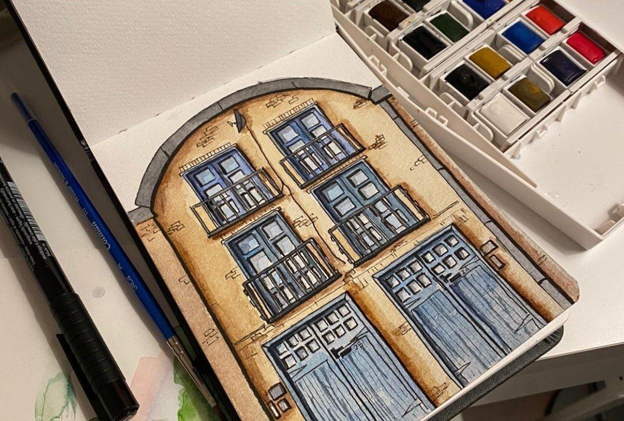 2A/2B Fenwick Pl   Urban Sketch & Paint - student project