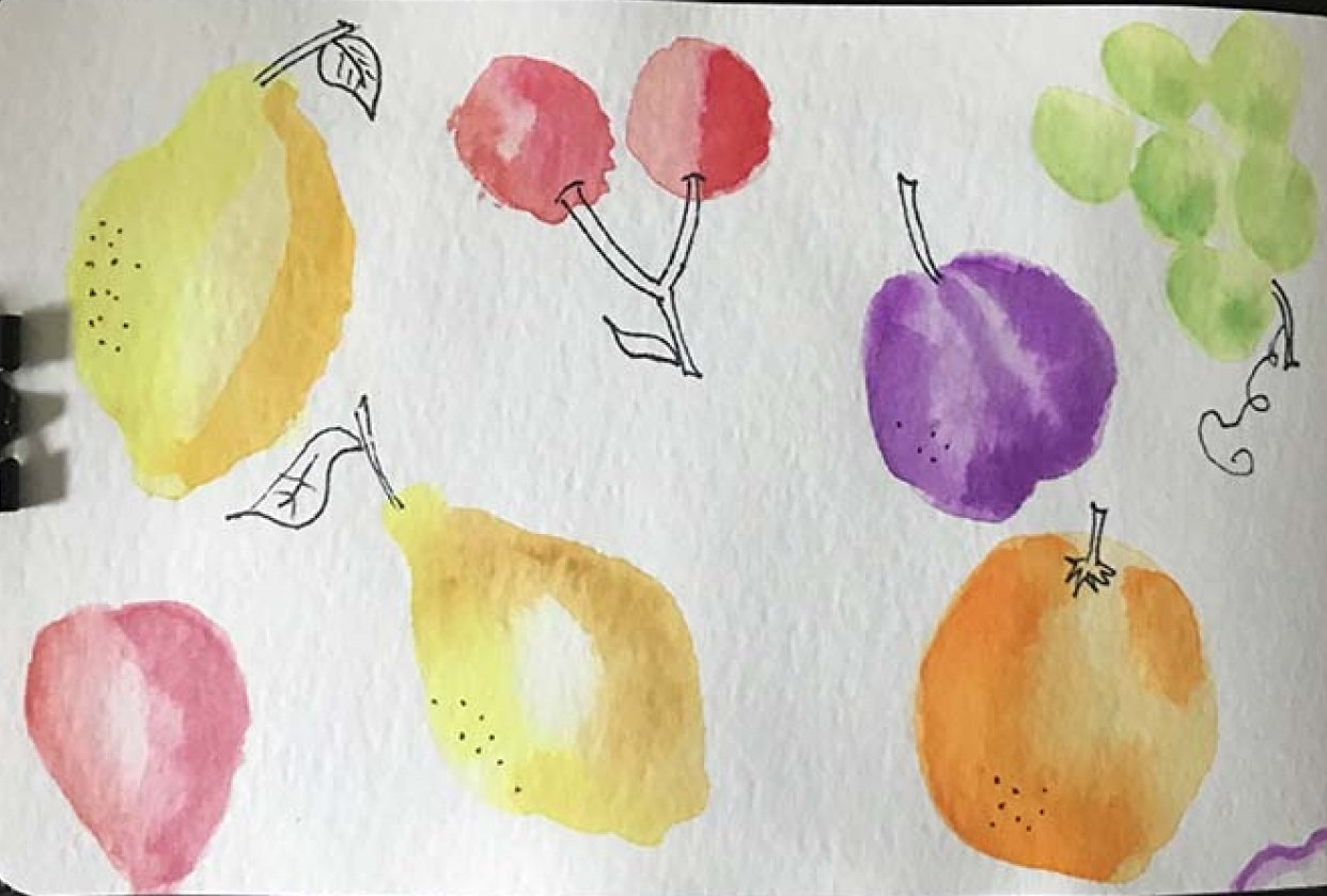 Watercolor with Line Drawing - student project