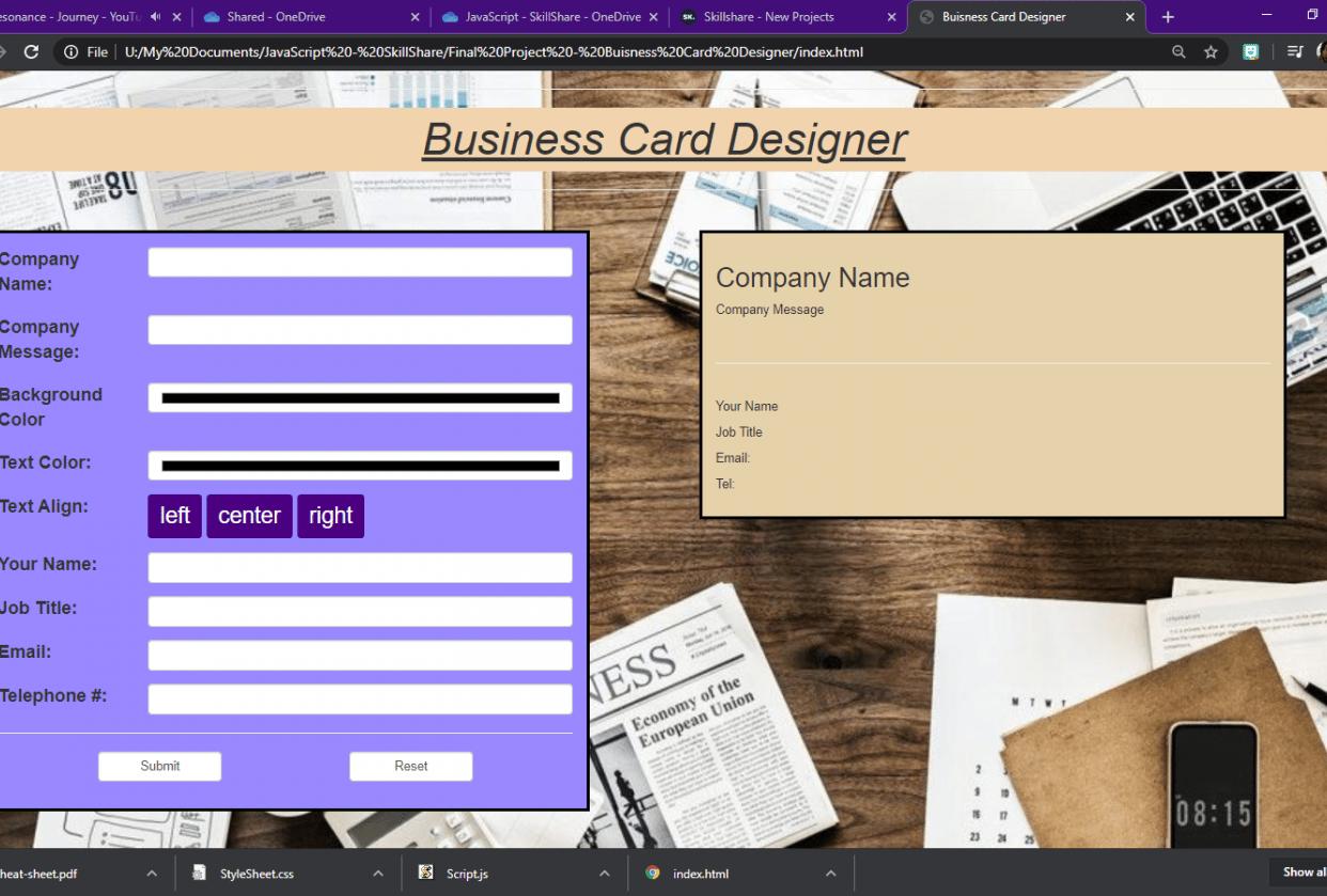 Business Card Designer - final Draft - student project