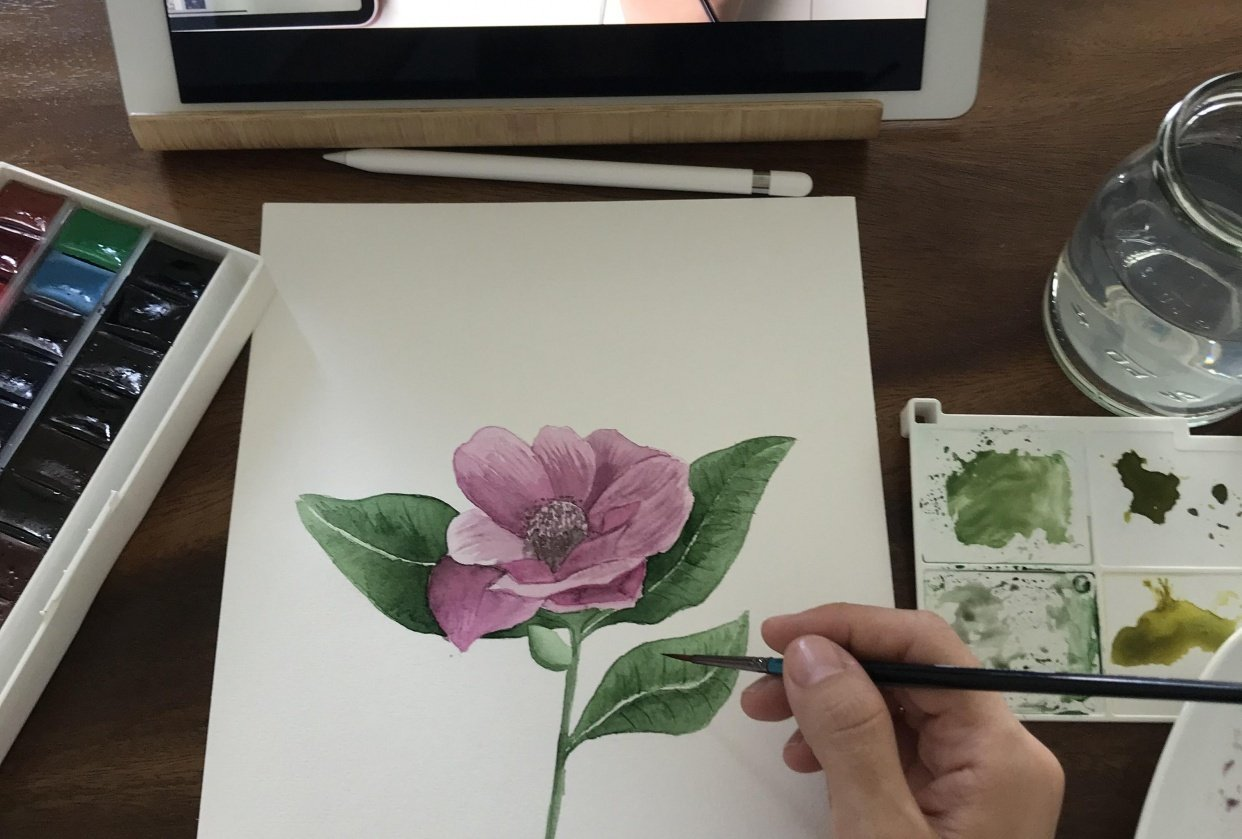 Watercolor flower - student project