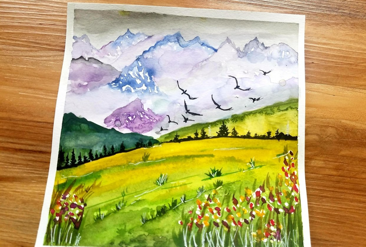Fun and Easy Watercolor Landscape - student project
