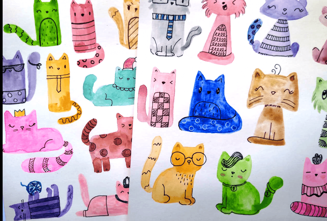 Watercolor Cats - student project