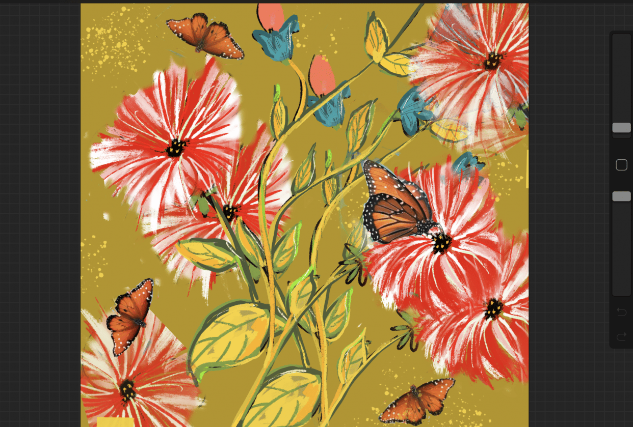Peppermint flowers and butterflies - student project