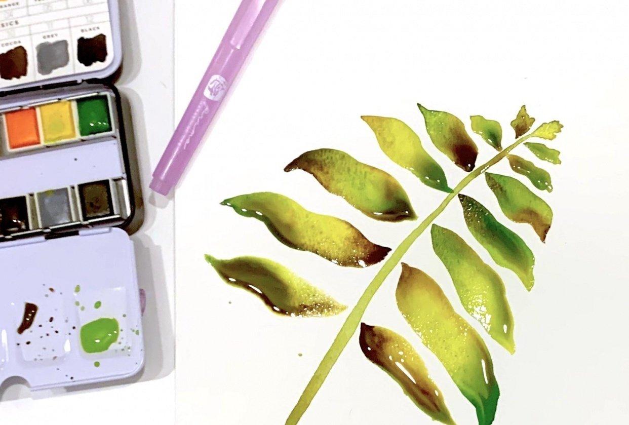 Watercolor Techniques - Leaf - student project
