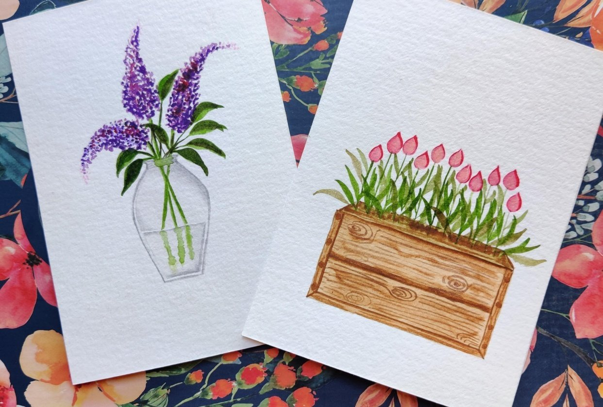 My projects - Glass pot with Lilacs and Wooden crate with Tulips - student project