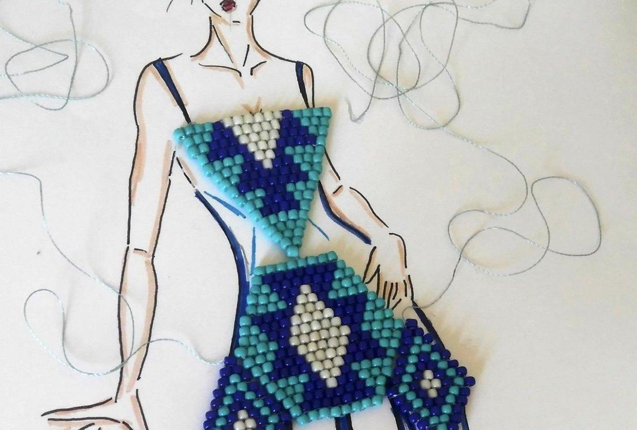 Beaded fashion illustration - student project