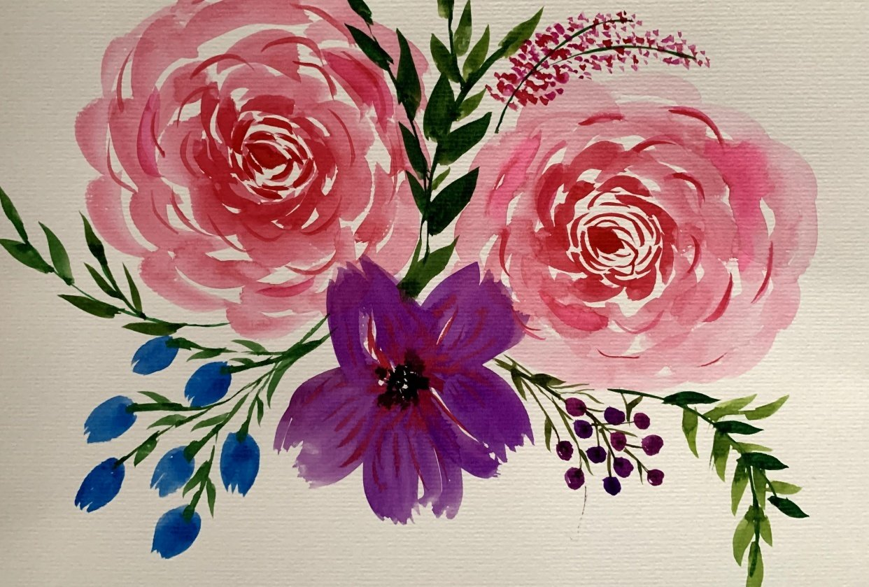 Watercolor Florals: From Blobs to Blooms - student project