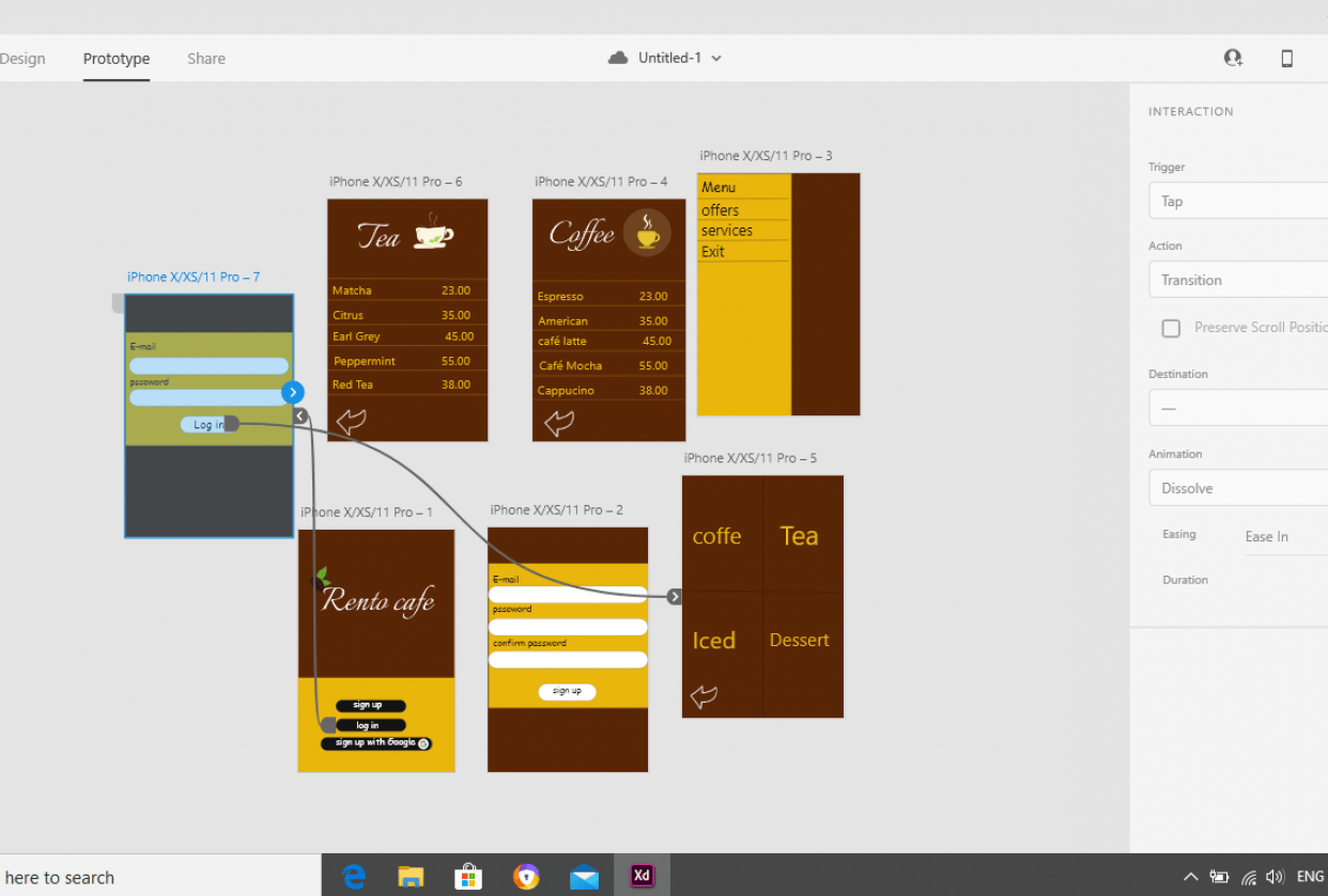 cafe mobile app - student project