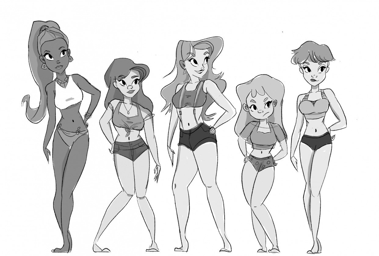 Women line-up character design assignment - student project
