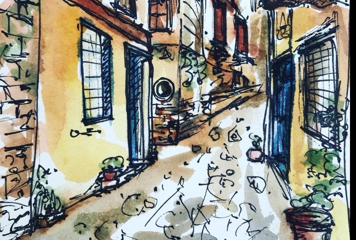 Greek Street Urban Sketching - student project