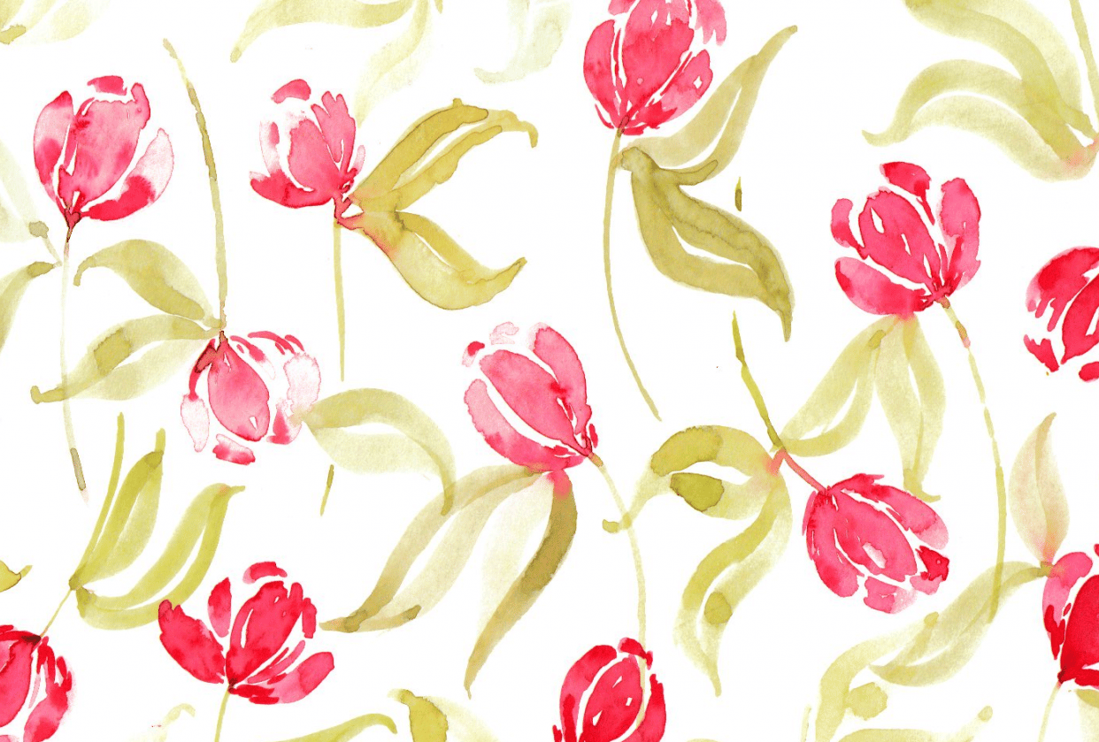 Tulips Pattern with Watercolors - student project