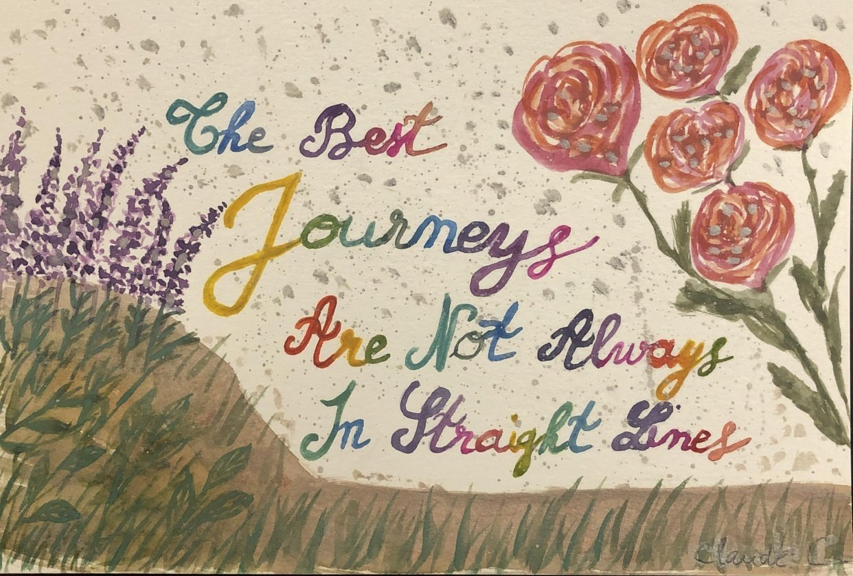 Playing with florals and colorful brush lettering - student project