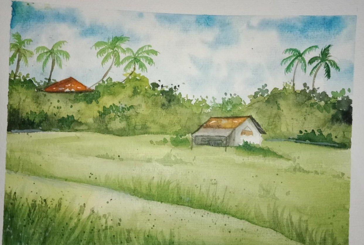 Green watercolour landscape - student project