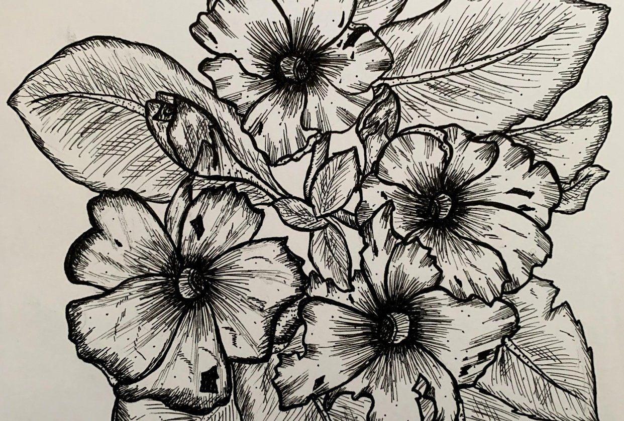 Pen and Ink Florals - student project