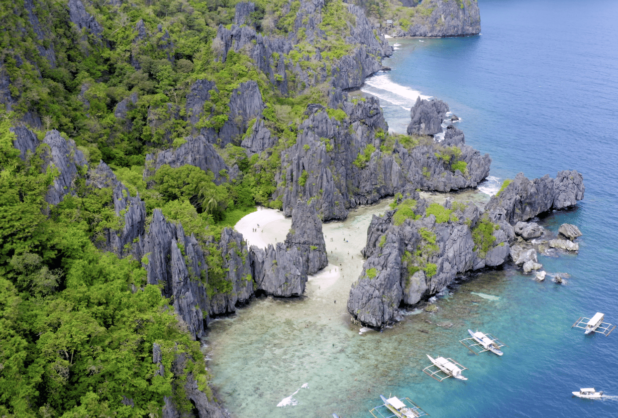 Aerial fly over of Secret Beach, El Nido in Palawan, Philippines - student project