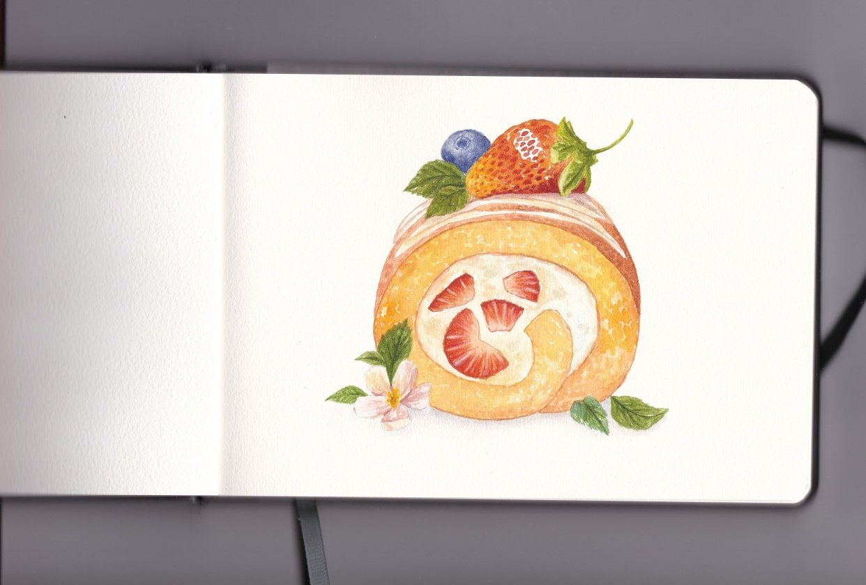 Strawberry Swiss Roll - student project