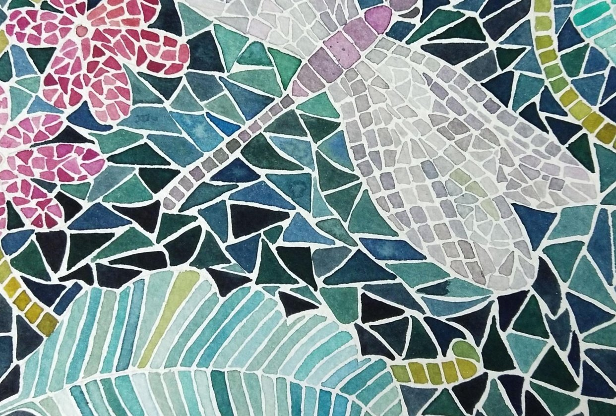 watercolour mosaic painting - student project