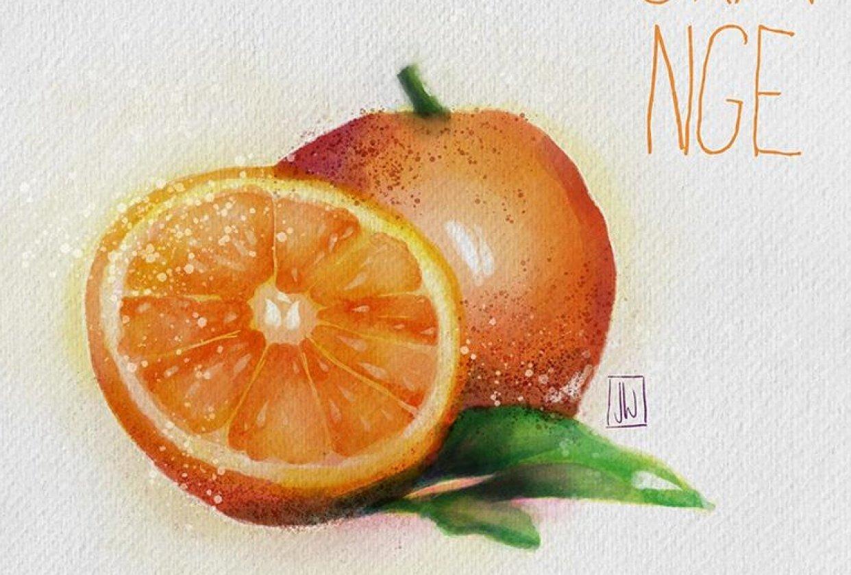 Digital Watercolor Orange - student project