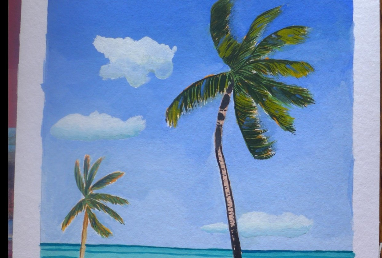 Palm Trees with Gouache - student project