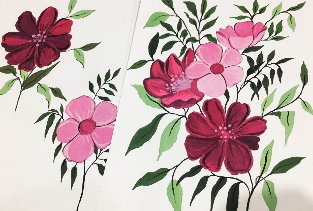 Gouache Floral Painting - student project