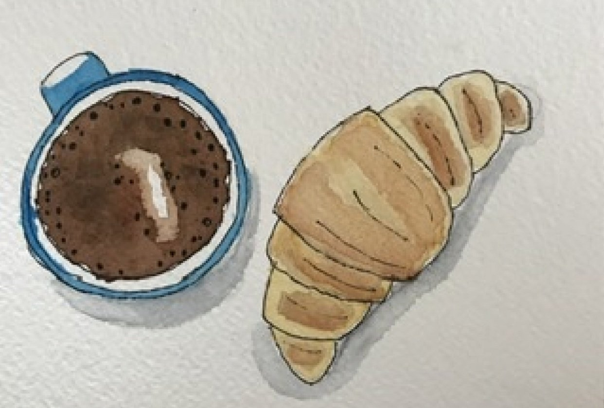 Coffee with croissant - student project
