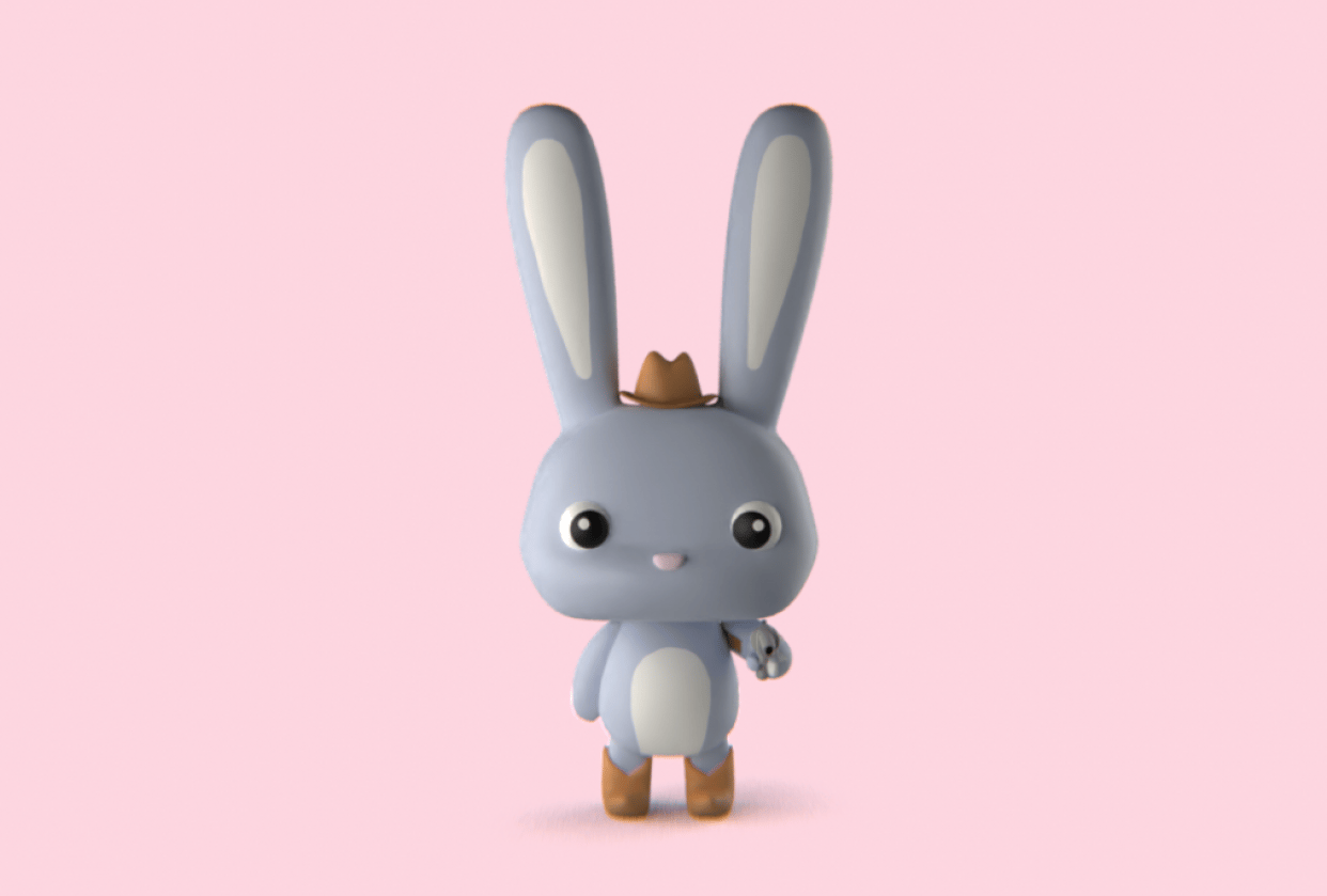 Burly the Cowboy Bunny - student project