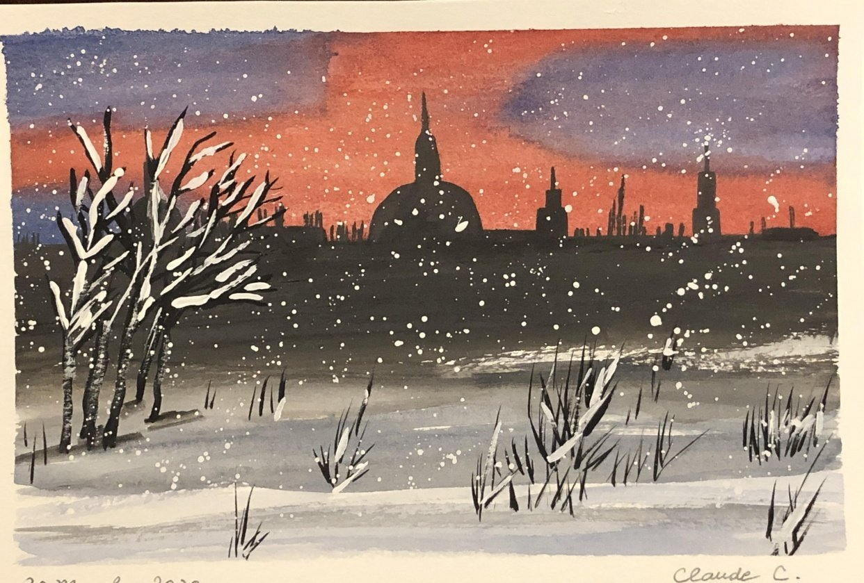 Watercolor Winter Nights - student project