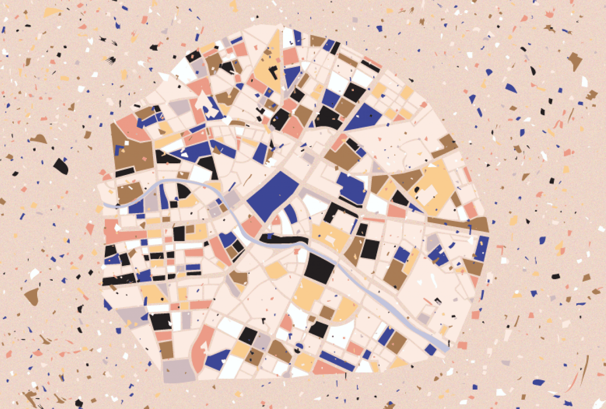 Map of Berlin, Terrazzo Style - student project
