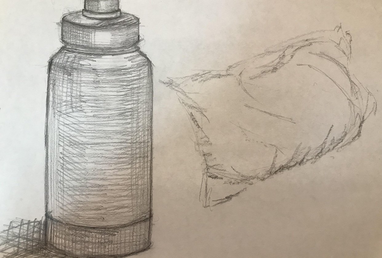 bottle and pillow - student project