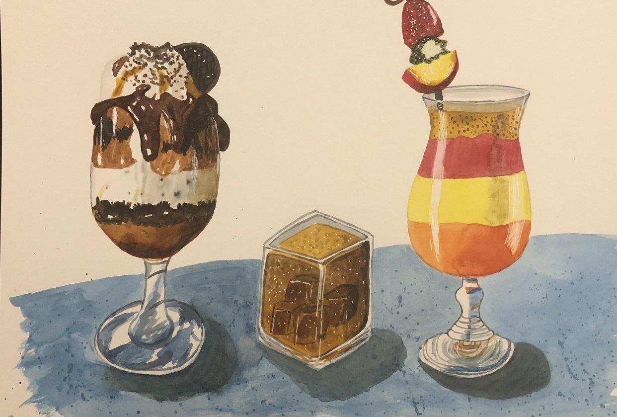 Food illustration: three appetizing drinks! - student project