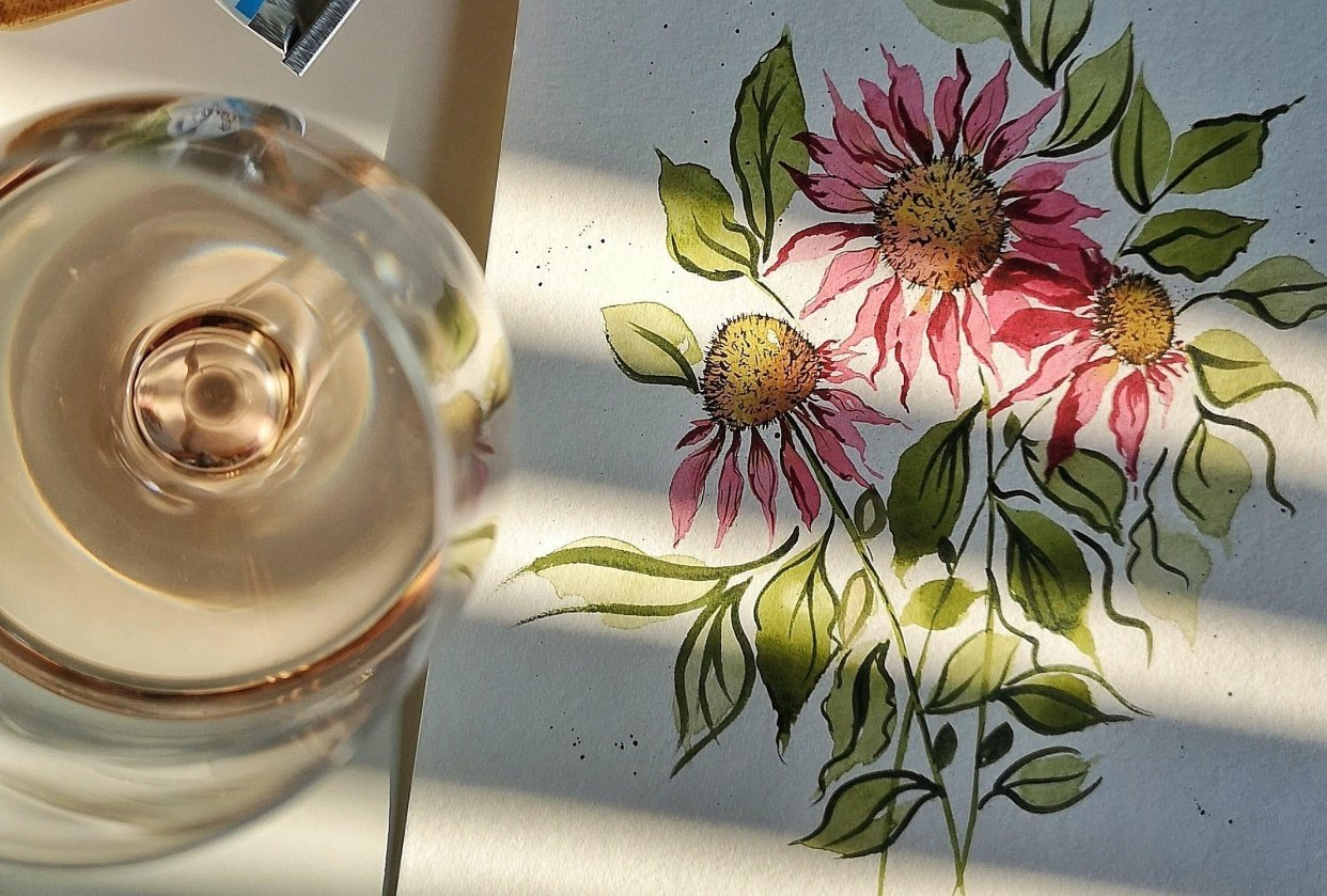 Loose Cone Flowers - student project