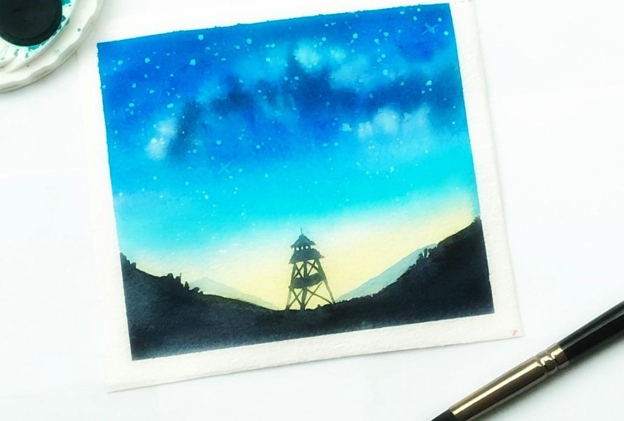Watercolor Milky Way - student project