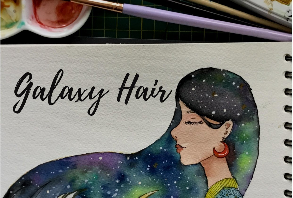Watercolor Galaxy Painting #1 - Nebulae Hair - student project
